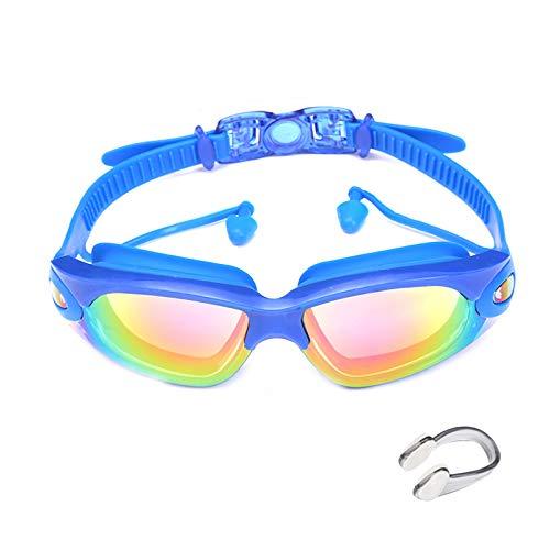 Gafas de natación profesionales Gafas de natación con tapones para los oídos Clip de nariz Electroplaca impermeable Soporte de silicona para playa al aire libre Fiesta de la piscina (azul)
