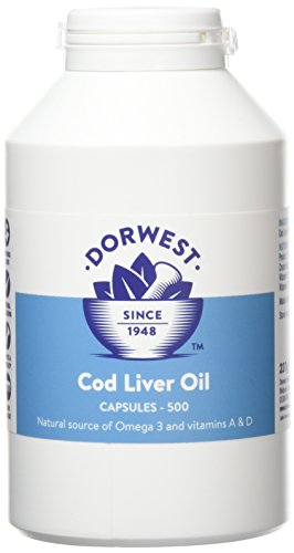 Dorwest Herbs Cod Liver Oil Capsules for Dogs and Cats 500 Capsules