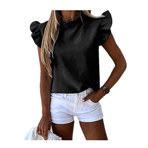 N\P Las Mujeres De La Moda De Verano De Color Sólido Camisetas De Volantes Decoración O-Cuello Corto Volantes Manga Delgado Pullovers Top Lady Streetwear Camisas