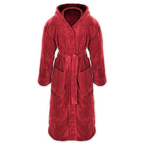 Gräfenstayn® Damen & Herren Kuschelfleece Bademantel mit Kapuze Größe S-XXXL Öko-Tex Standard 100 Flanell Fleece (XXXL, Bordeaux)
