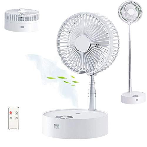 Taipow Ventilador de Mesa con Humidificador y Control Remoto, Φ20cm Ventilador de Portátil Altura Regulable y Plegable, 30dB Silencioso, 4 Velocidades, Batería 7200mAh, Alimentado por USB