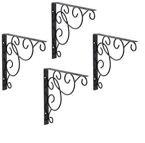 4 supporti per mensola da parete in metallo, supporto per mensola triangolare, in ferro battuto, per bagno, cucina (4 pezzi).