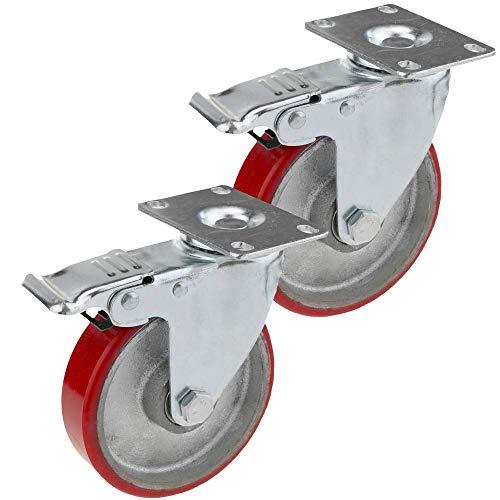 PrimeMatik - Ruedas pivotantes industriales de Poliuretano y Metal con Freno 125 mm 2 Unidades