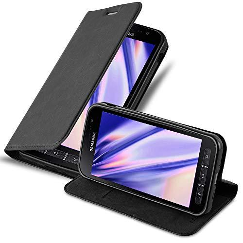 Cadorabo Hülle für Samsung Galaxy XCover 4 in Nacht SCHWARZ - Handyhülle mit Magnetverschluss, Standfunktion & Kartenfach - Hülle Cover Schutzhülle Etui Tasche Book Klapp Style
