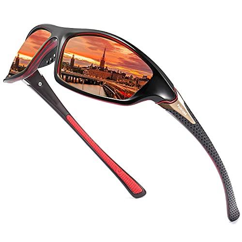 Perfectmiaoxuan Gafas de sol polarizadas para hombres/mujeres; Marco de metal ligero vintage/clásico/elegante; Lentes piloto HD; Golf/conducción/pesca/viaje Gafas (【A3】 Lentejas Rojas / Patas Rojas)