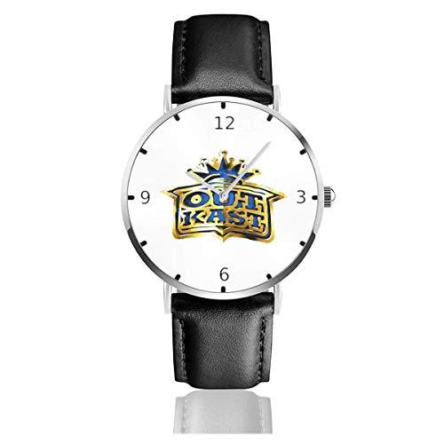 Men's Fashion Minimalist Wrist Watch Quartz Wrist Watch Outkast Crown Logo Leather Strap Watch