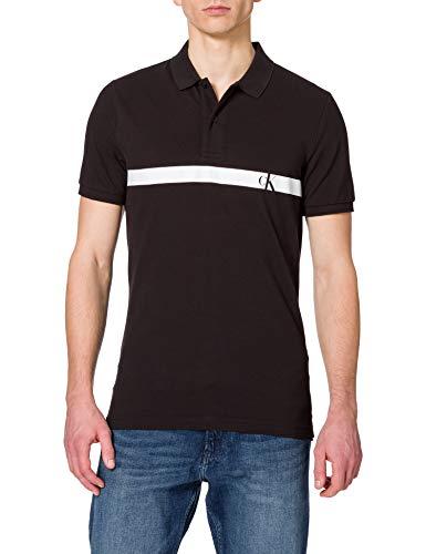 Calvin Klein Jeans Horizontal Panel Polo Camisa, CK Negro, L para Hombre