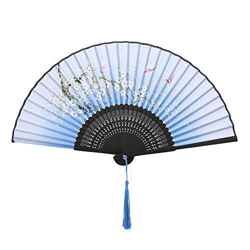 Jadpes Faltfächer, faltende Handfächer-Hochzeitsfest-Geschenk-Tanz-Stützen für Geschenk-Geschenk-Innenministerium-Dekoration(Blau)