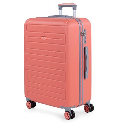 SKPAT - Maleta de Viaje Mediana 4 Ruedas Trolley. 67 cm Rígida ABS. Dura Práctica Cómoda Ligera y Bonito. Diseño y Calidad. Candado TSA. Interior Muy Completo. Estudiante. 175060, Color Coral