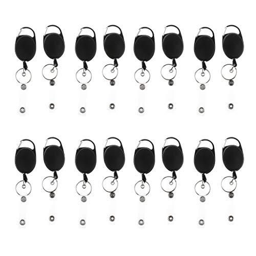"sharprepublic 16 Unids Heavy Duty Retráctil 23.6 ""Tire del Carrete Retroceso Key Ring ID Cards Holder"