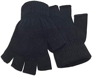 قفازات نصف اصابع صوف للشتاء ، اسود