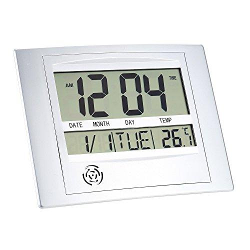 KKmoon Orologio Elettronico di Temperatura,Funzione di Tempo Calendario Allarme e Temperatura,Colore Argento