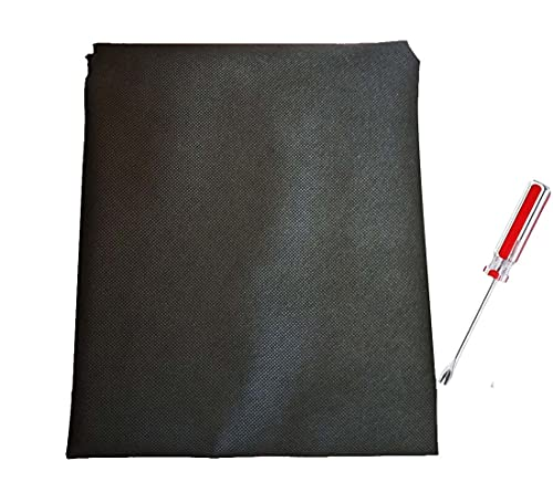 YLM1991 62inch Width Black Upholstery Base Dust Cover Fabric Replacement for Sofas, Chairs, Spring Box, 75g Non-Woven Lining Platform Cloth and 4inch Tack Lifter Screwdriver Tool (Length 98inch)