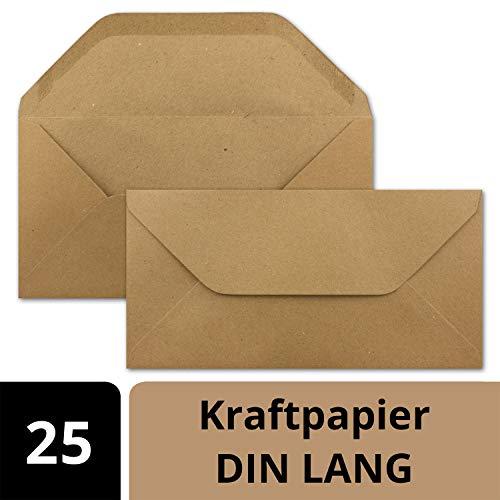 Neuser Paper Envelop in DIN lang formaat van kraftpapier, zandbruin, zelfklevend, zelfklevend, blanco enveloppen van gerecycled papier, post-enveloppen zonder venster, 25 Umschläge 03 DIN lange enveloppen, nat plakken.