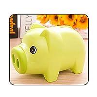 コインマネーボックスキッズギフト節約現金ポータブル3カラー家の装飾かわいい漫画動物プラスチック貯金銀行子供用保管 (Color : Green)