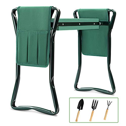 Garden Kneeler and Seat Bench Stools KITADIN Foldable Stool with Tool Bag Pouch EVA Foam Pad Outdoor Portable Kneeler for Gardening