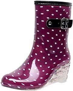 YWLINK Botas De Lluvia Mujer Hunter Zapatos CuñA Botas De Lluvia Hebilla con Cremallera Lateral Transparentes Zapatos De Goma Moda Casual Antideslizante Botas Nieve PVC TamañO Grande(Púrpura,38EU)