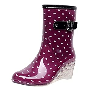 YWLINK Botas De Lluvia Mujer Hunter Zapatos CuñA Botas De Lluvia Hebilla con Cremallera Lateral Transparentes Zapatos De Goma Moda Casual Antideslizante Botas Nieve PVC TamañO Grande(Púrpura,39EU)