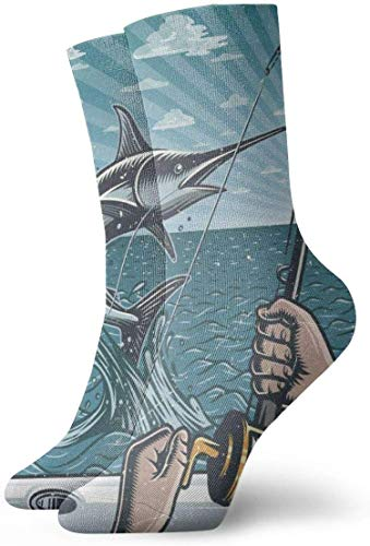 REordernow Chaussettes courtes Vintage Deep Sea Fishing Catching Swordfish Adult Short Socks Cotton Classic Socks for Mens Womens Yoga Hiking Cycling Running Soccer Sports