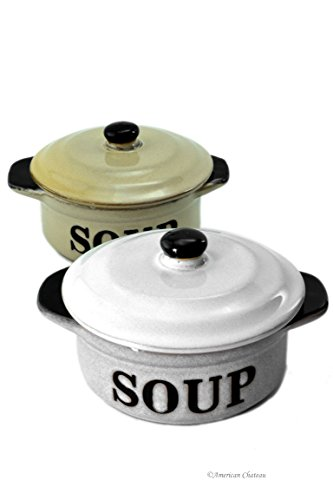 Set 2 Stoneware Vintage-Style 10oz French Onion'Soup' Crock Bowls with Lids