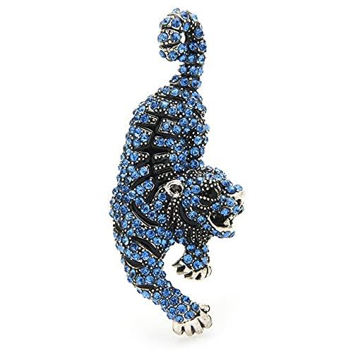 Broche de tigre con diamantes de imitación para mujer, unisex, cinco elementos, para fiesta, oficina, regalos