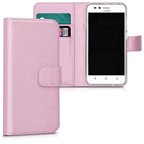 Compatible con Huawei P8 Lite Smart, TAG-L01 TAG-L02 TAG-L03 / GR3 / ENJOY 5S Funda Cover Stand Flip Libro Gel Silicona TPU Cartera eco Piel Porta tarjetas (ROS)