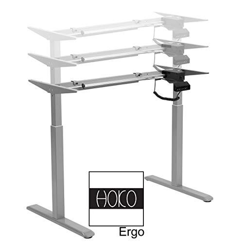 HOKO® Ergo-Work-Table Höhenverstellbarer Schreibtisch Comfort Grau, elektrisch höhenverstellbar. Arbeiten im Sitzen und im Stehen! Memory Speicher Steuerung und Erinnerungsfunktion.