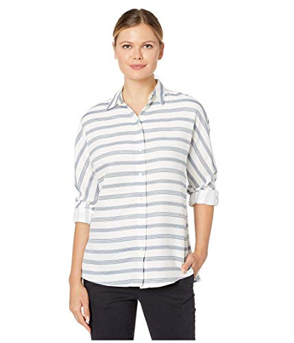 Lacoste Womens Long Sleeve Clean Striped Fluid Cotton Blouse Blouse, Flour/Navy Blue/King/Raffia Matting, 10