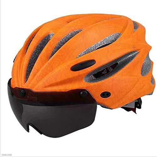 Jie KE Fietshelm met geïntegreerde veiligheidsbril, magnetische brilhelm Oranje.