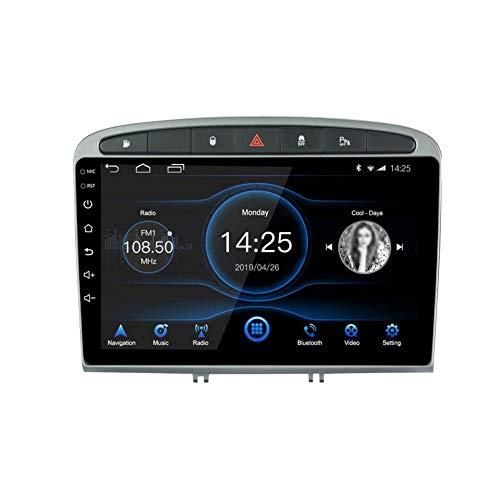 JIBO Androide Auto Estéreo Navegacion GPS Cabeza Unidad HD IPS Tocar Pantalla Dab SWC Auto Radio Multimedia Jugador para Peugeot 308/408 2010-2016, WiFi DSP Video Receptor