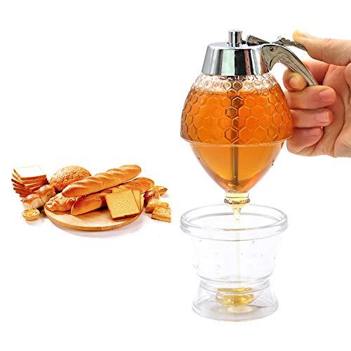 Dispensador de miel, 200 ml de abejas de goteo de la botella del contenedor de la taza de zumo claro jarabe de especias de abeja botella de miel tarros herramienta de hornear w/soporte