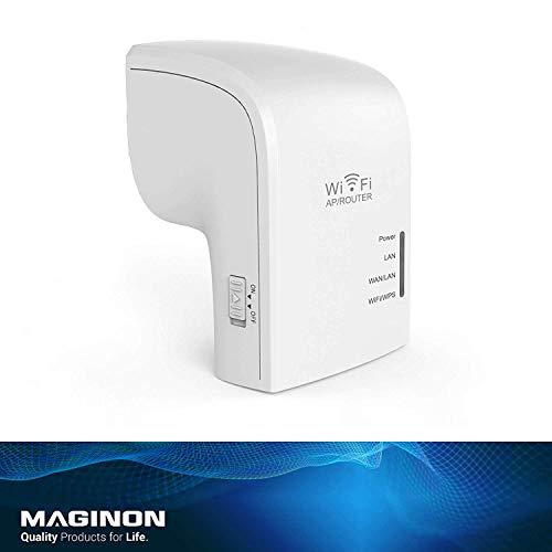 Maginon WLAN Verstärker WLR 755 AC, Repeater mit 5 GHz 433 Mbit/s, 2,4 GHz 300 Mbit/s und 802.11ac Standard. Router mit LAN-Port und WiFi-WPS, 3 Antennen, Access Point kompatibel zu Allen Netzwerken