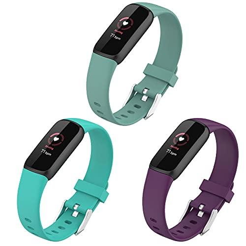 FunBand Correa para Fitbit Luxe, Reemplazo de Correa de Pulsera de Silicona Bandas Correa Repuesto Deportiva Pulsera Compatible con Fitbit Luxe Smartwatch (3 Pack)