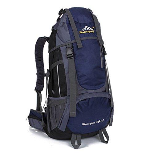 Minetom 55L Backpack Bag Impermeabile Trekking Escursionismo Montagna Alpinismo Zaino Ciclismo Campeggio Viaggio Pack Blu Scuro One Size(34*18*66 Cm)
