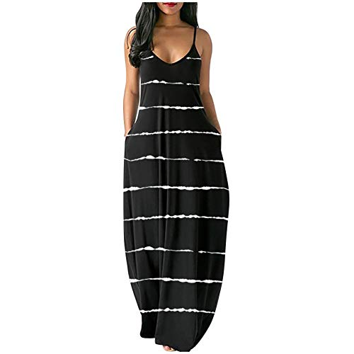 OutTop Loose Plus Size Dresses for Women Spaghetti Strap Sexy V-Neck Summer Sling Sleeveless Long Maxi Dress with Pocket (A-Black, XL)