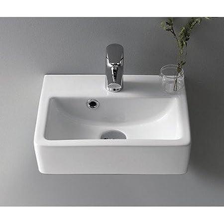 CeraStyle 001400-U-One Hole Mini fregadero rectangular de cerámica montado en la pared/recipiente de pared, color blanco