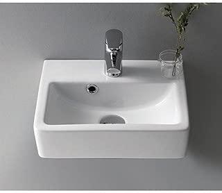 CeraStyle 001400-U-One Hole Mini Rectangle Ceramic Wall Mounted/Vessel Sink, White