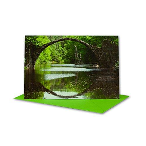 Lot de cartes de vœux I avec enveloppe verte clair I B6 17 x 11,5 cm I Carte de vœux pliable pour toutes les occasions I si la naissance I baptême I communion ou mariage DIN B6 vert/noir