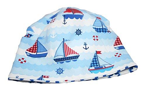 Farbgewitter Baby Jerseymütze Beanie Sally Captain Anchor Segelboote, Farbe:hellblau, Größe:XXS (34-38)
