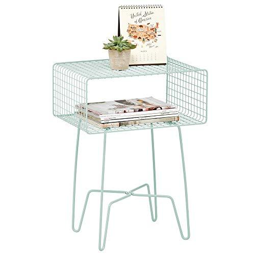 mDesign Mesita auxiliar de metal pequeña – Elegante mesa auxiliar vintage para el salón o el dormitorio – Mesa de centro con moderno diseño de horquilla – verde menta