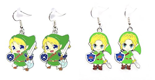 2 Pairs The Legend of Zelda LINK Character Dangle Hook Earrings With Gift Box
