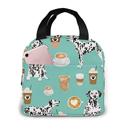 Dalmatians Cute Mint Coffee mejor bolsa de almuerzo con estampado de perro dálmata para mujeres,niñas,niños,bolsa de picnic aislada,bolsa gourmet,bolsa cálida para el trabajo escolar,oficina,camping,
