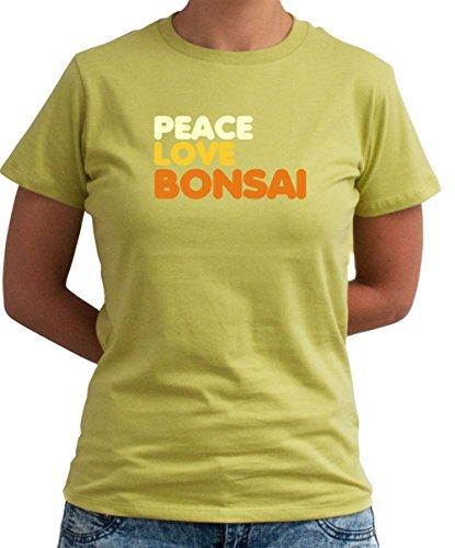 Peace Love Bonsai señora T-Shirt verde oliva xx-large