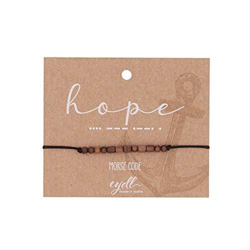 Eydl Wood Jewelry Morse Code Armband Hope mit natürlichen Holzperlen aus Nussholz. Armband ist größenverstellbar in Schwarz. Feinste Handarbeit aus Österreich