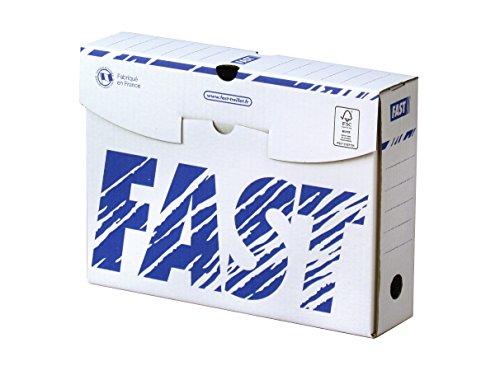Fast Lot de 10 Boîtes Archives en Carton Dos 8cm Montage Manuel Blanc / Bleu