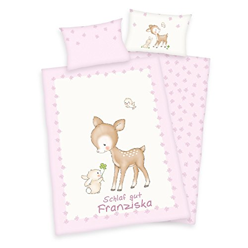 Wolimbo Kinder Bettwäsche 100x135cm mit Ihrem Wunsch-Namen - Babybettwäsche mit Rehkids Motiv rosa
