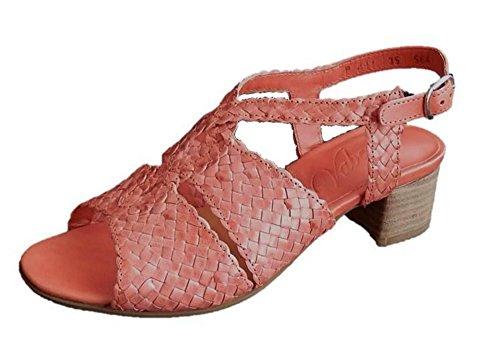 Vabeene Sandale geflochten Leder Koralle Weite G (35)
