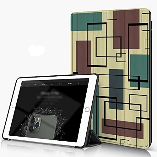 She Charm Carcasa para iPad 10.2 Inch, iPad Air 7.ª Generación,Superposición de rectángulo Retro de Mediados de Siglo,Incluye Soporte magnético y Funda para Dormir/Despertar