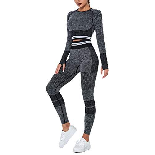 Conjunto de Chándal Mujer Traje de 2 Piezas, De las mujeres ropa de yoga 2 piezas de chándal Trajes sin fisuras de cintura alta elevación del extremo polainas de manga larga camisas de la yoga del pul