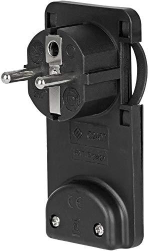 Enchufe plano con protección de contacto, extraplano, 6 mm, 250 V, 16 A, color negro